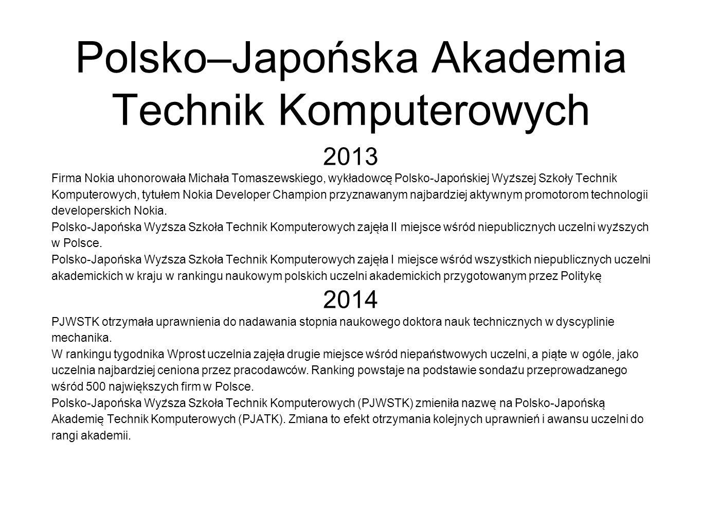 Polsko–Japońska Akademia Technik Komputerowych 2013 Firma Nokia uhonorowała Michała Tomaszewskiego, wykładowce ̨ Polsko-Japońskiej Wyz ̇ szej Szkoły Technik Komputerowych, tytułem Nokia Developer Champion przyznawanym najbardziej aktywnym promotorom technologii developerskich Nokia.