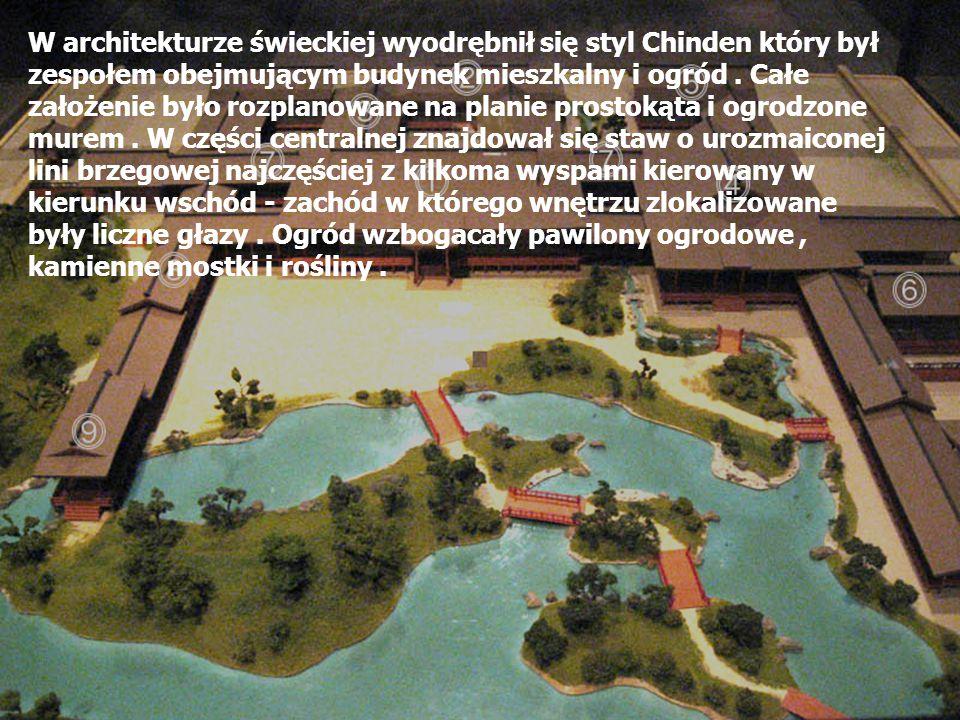 W architekturze świeckiej wyodrębnił się styl Chinden który był zespołem obejmującym budynek mieszkalny i ogród. Całe założenie było rozplanowane na p