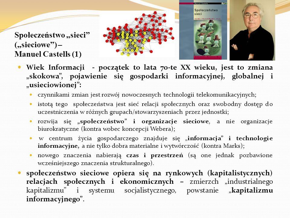 """Społeczeństwo """"sieci"""" (""""sieciowe"""") – Manuel Castells (1) Wiek Informacji - początek to lata 70-te XX wieku, jest to zmiana """"skokowa"""", pojawienie się g"""
