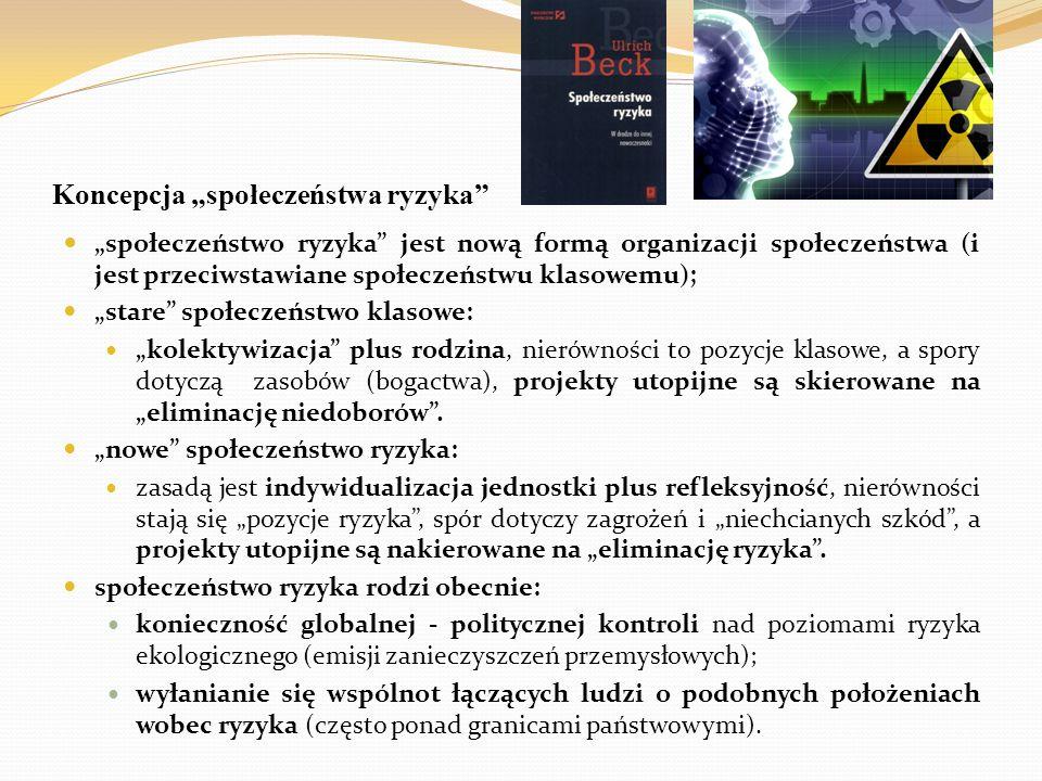 """Koncepcja """"społeczeństwa ryzyka"""" """" społeczeństwo ryzyka"""" jest nową formą organizacji społeczeństwa (i jest przeciwstawiane społeczeństwu klasowemu); """""""