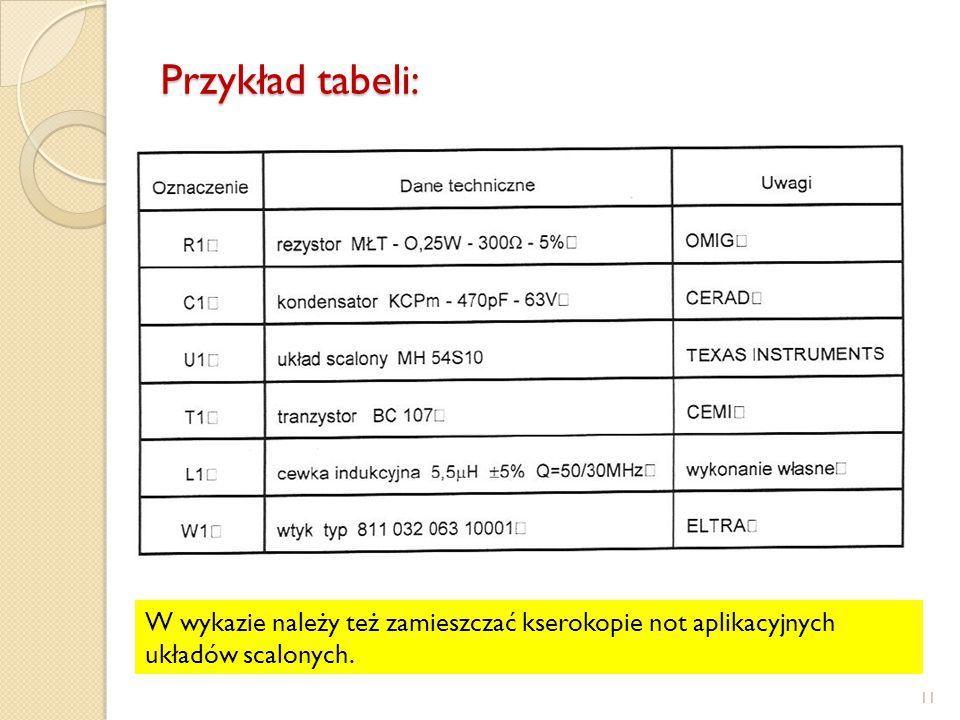 Przykład tabeli: 11 W wykazie należy też zamieszczać kserokopie not aplikacyjnych układów scalonych.