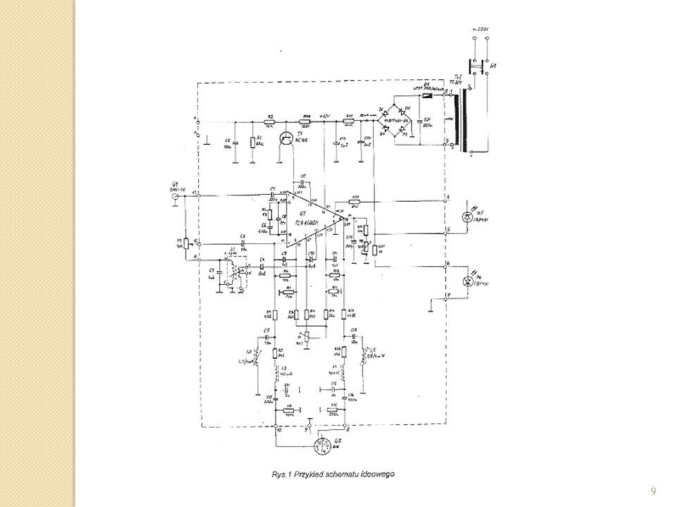Wykaz podzespołów elektrycznych: - W tej części powinny być zawarte symbole i numery elementów ze schematu ideowego oraz ich wartości, typy i nazwy producentów.