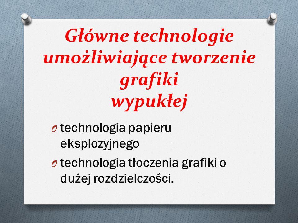 Główne technologie umożliwiające tworzenie grafiki wypukłej O technologia papieru eksplozyjnego O technologia tłoczenia grafiki o dużej rozdzielczości.