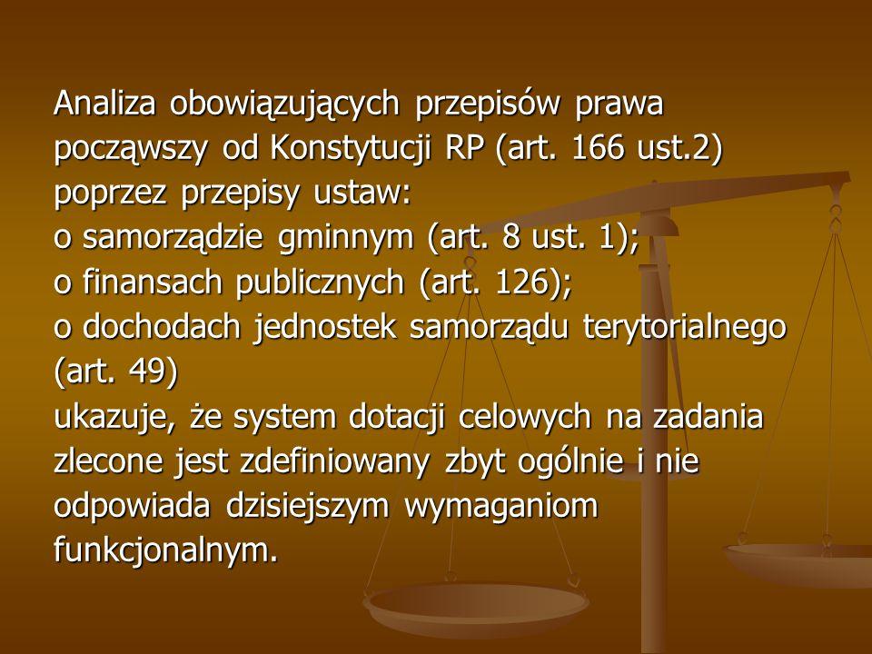 Analiza obowiązujących przepisów prawa począwszy od Konstytucji RP (art. 166 ust.2) poprzez przepisy ustaw: o samorządzie gminnym (art. 8 ust. 1); o f