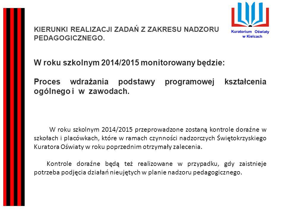 Kuratorium Oświaty w Kielcach KIERUNKI REALIZACJI ZADAŃ Z ZAKRESU NADZORU PEDAGOGICZNEGO. W roku szkolnym 2014/2015 monitorowany będzie: Proces wdraża