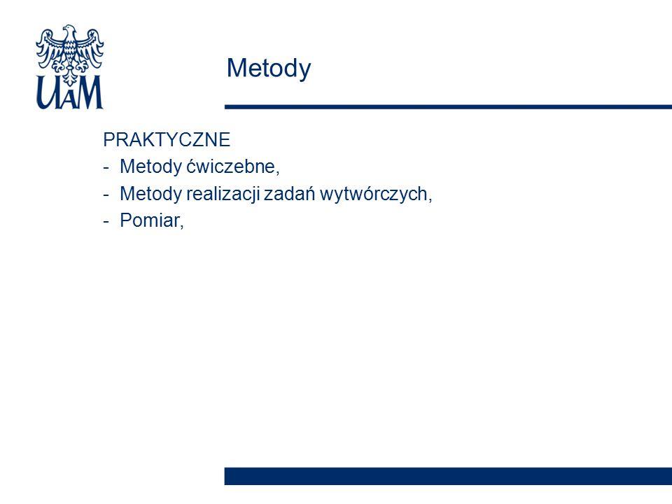PRAKTYCZNE -Metody ćwiczebne, -Metody realizacji zadań wytwórczych, -Pomiar, Metody