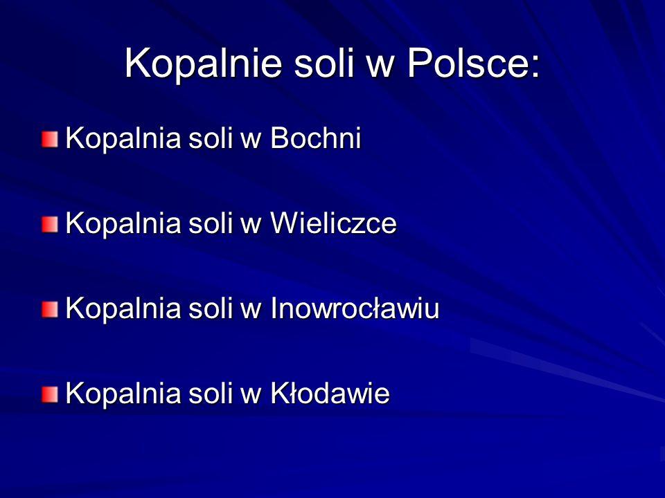 Kopalnie soli w Polsce: Kopalnia soli w Bochni Kopalnia soli w Wieliczce Kopalnia soli w Inowrocławiu Kopalnia soli w Kłodawie