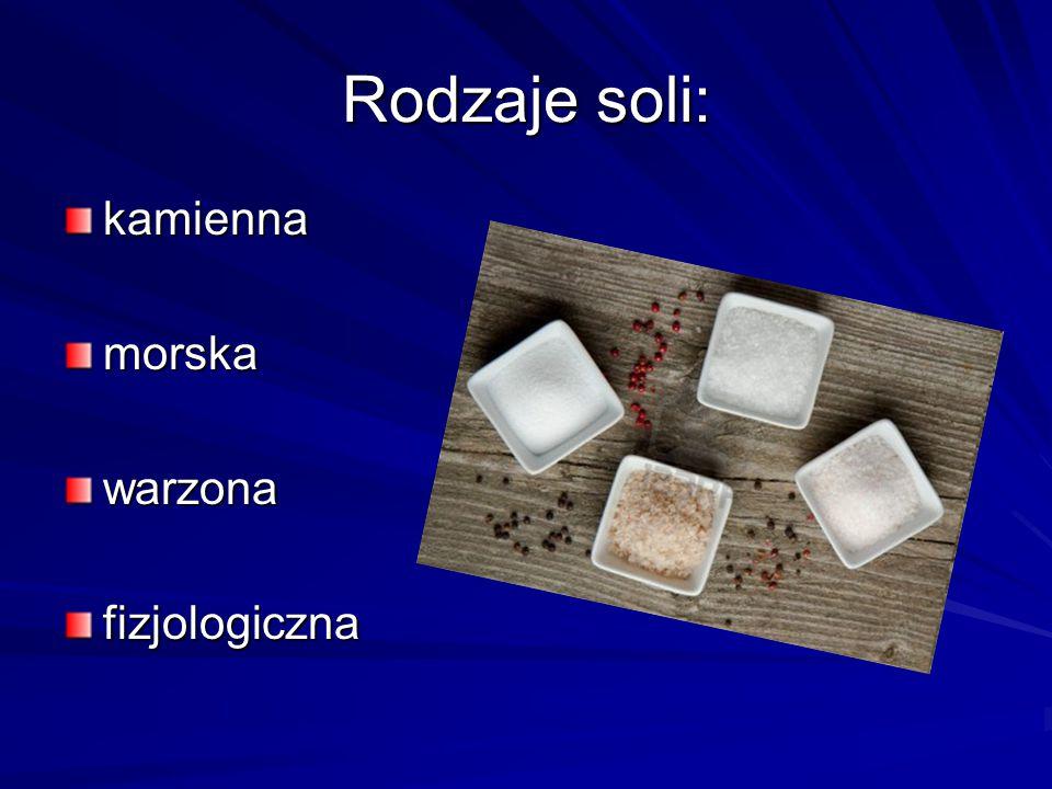 Rodzaje soli: kamienna morska warzona fizjologiczna