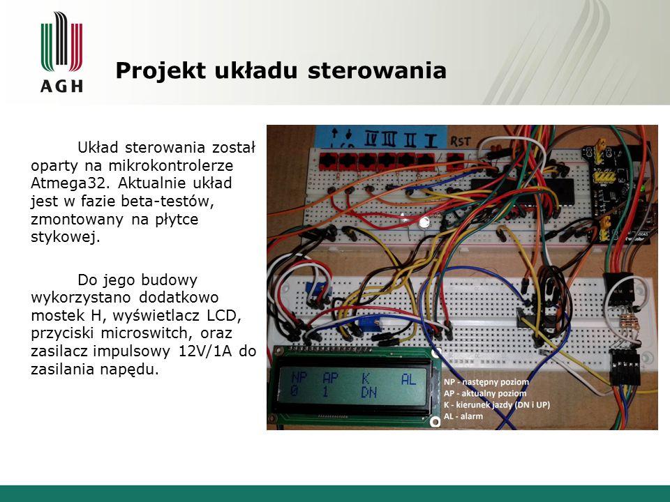 Projekt układu sterowania Układ sterowania został oparty na mikrokontrolerze Atmega32. Aktualnie układ jest w fazie beta-testów, zmontowany na płytce