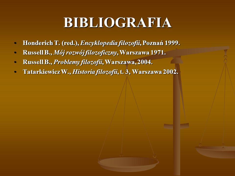 BIBLIOGRAFIA Honderich T.(red.), Encyklopedia filozofii, Poznań 1999.Honderich T.