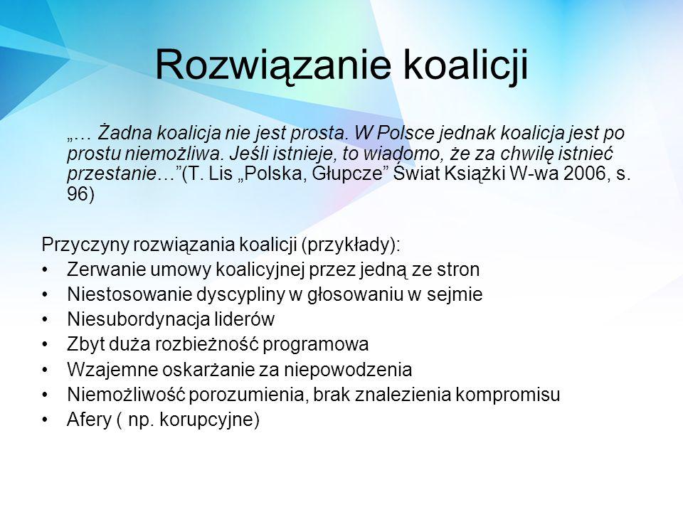 """Rozwiązanie koalicji """"… Żadna koalicja nie jest prosta. W Polsce jednak koalicja jest po prostu niemożliwa. Jeśli istnieje, to wiadomo, że za chwilę i"""