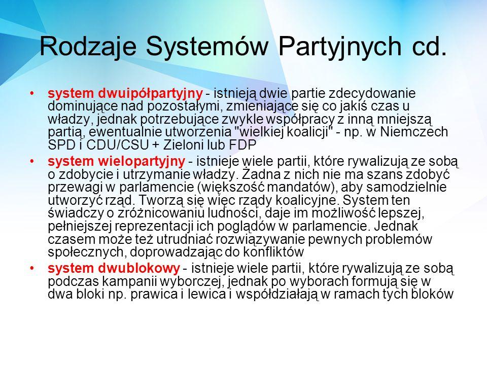 Rodzaje Systemów Partyjnych cd. system dwuipółpartyjny - istnieją dwie partie zdecydowanie dominujące nad pozostałymi, zmieniające się co jakiś czas u