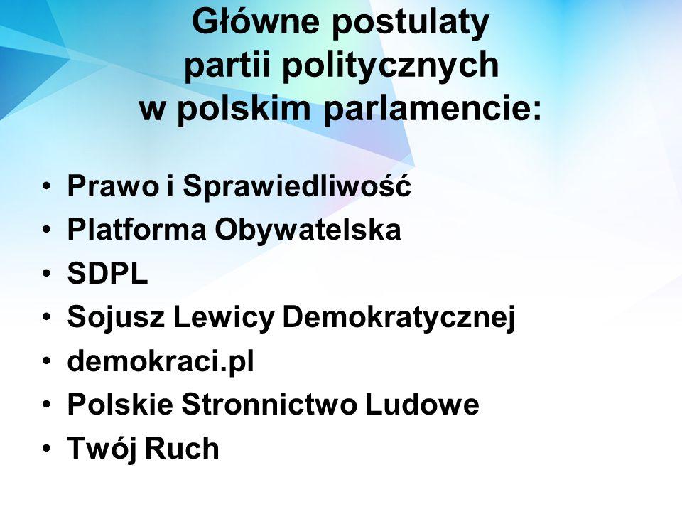Główne postulaty partii politycznych w polskim parlamencie: Prawo i Sprawiedliwość Platforma Obywatelska SDPL Sojusz Lewicy Demokratycznej demokraci.p