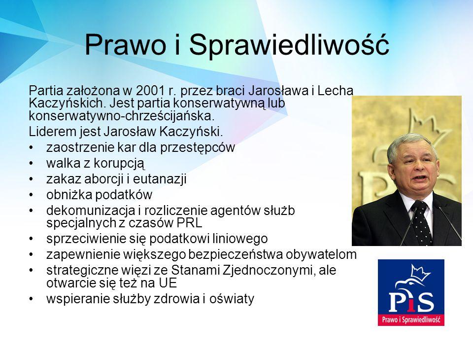 Prawo i Sprawiedliwość Partia założona w 2001 r. przez braci Jarosława i Lecha Kaczyńskich. Jest partia konserwatywną lub konserwatywno-chrześcijańska