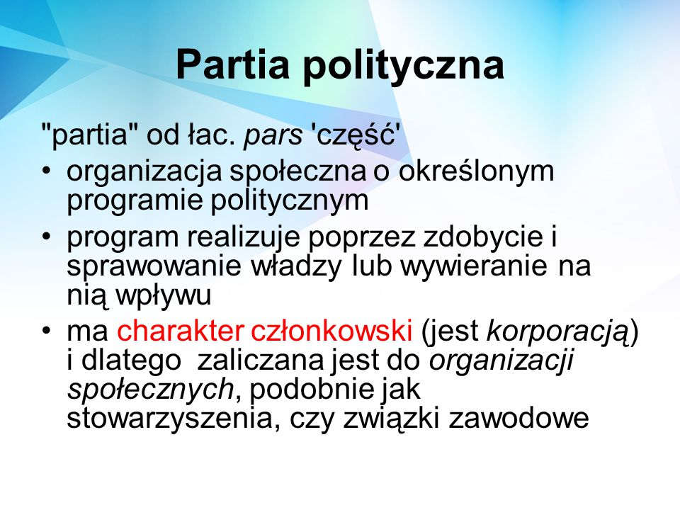 Rodzaje Systemów Partyjnych system jednopartyjny - istnieje tylko jedna legalna partia, zaś działanie ewentualnych organizacji opozycyjnych jest przez nią skutecznie hamowane - np.