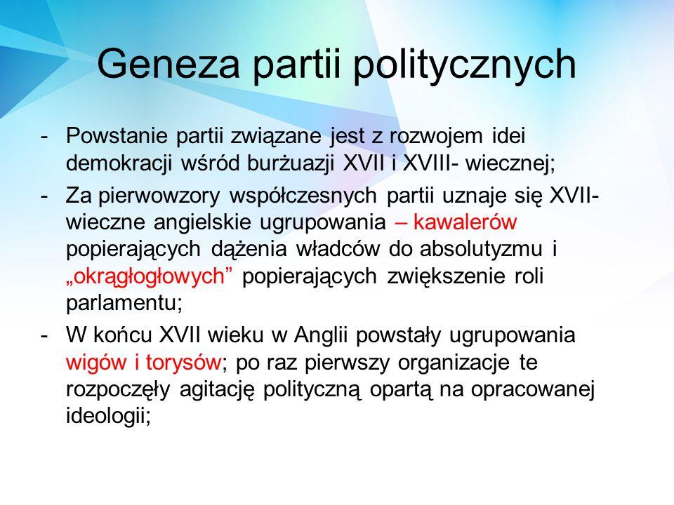 Geneza partii politycznych -Powstanie partii związane jest z rozwojem idei demokracji wśród burżuazji XVII i XVIII- wiecznej; -Za pierwowzory współcze