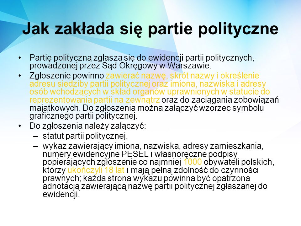 Główne postulaty partii politycznych w polskim parlamencie: Prawo i Sprawiedliwość Platforma Obywatelska SDPL Sojusz Lewicy Demokratycznej demokraci.pl Polskie Stronnictwo Ludowe Twój Ruch
