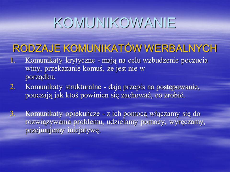 KOMUNIKOWANIE RODZAJE KOMUNIKATÓW WERBALNYCH 1.Komunikaty krytyczne - mają na celu wzbudzenie poczucia winy, przekazanie komuś, że jest nie w porządku