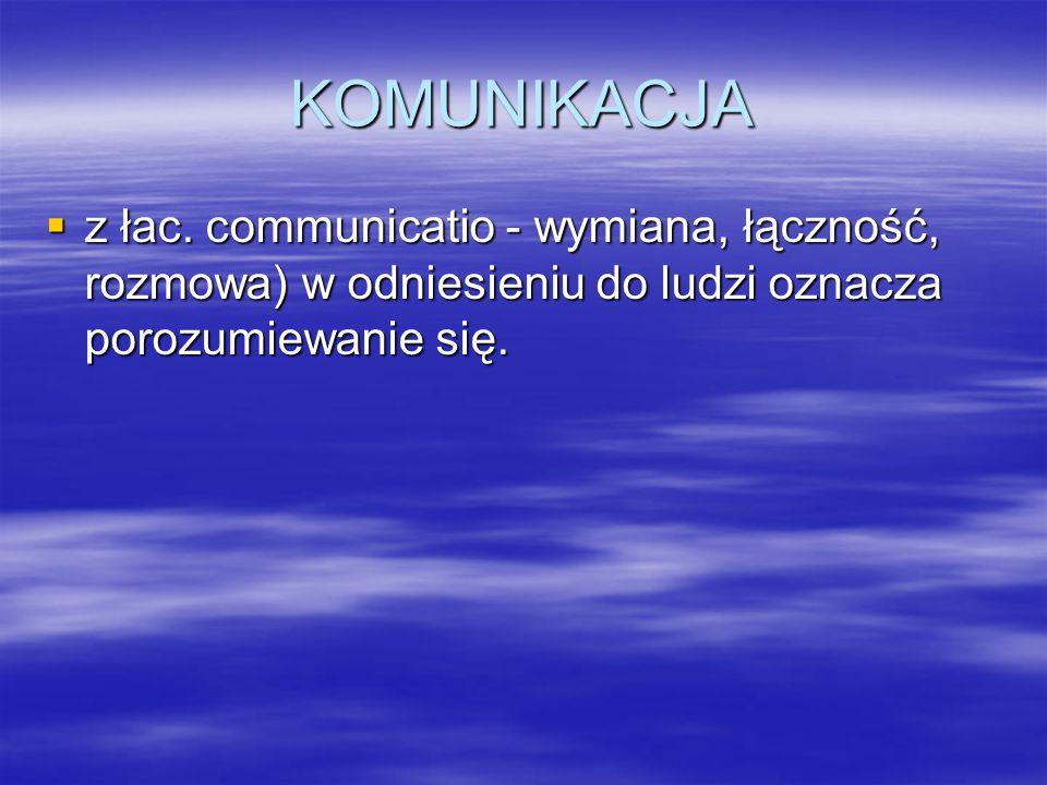 KOMUNIKACJA  z łac. communicatio - wymiana, łączność, rozmowa) w odniesieniu do ludzi oznacza porozumiewanie się.