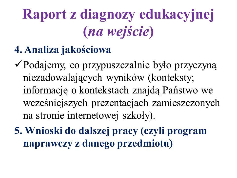 Raport z diagnozy edukacyjnej (na wejście) 4. Analiza jakościowa Podajemy, co przypuszczalnie było przyczyną niezadowalających wyników (konteksty; inf