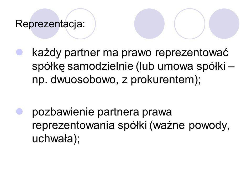 Reprezentacja: każdy partner ma prawo reprezentować spółkę samodzielnie (lub umowa spółki – np.