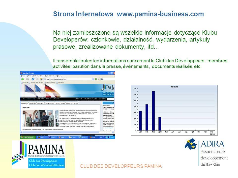CLUB DES DEVELOPPEURS PAMINA Strona Internetowa www.pamina-business.com Na niej zamieszczone są wszelkie informacje dotyczące Klubu Developerów: członkowie, działalność, wydarzenia, artykuły prasowe, zrealizowane dokumenty, itd...