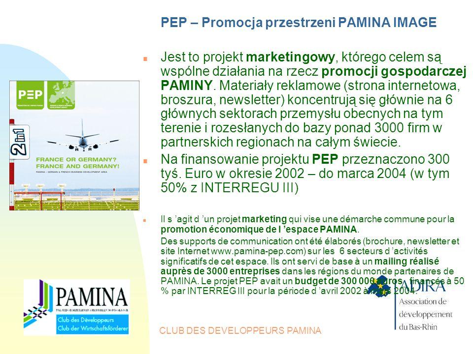 CLUB DES DEVELOPPEURS PAMINA PEP – Promocja przestrzeni PAMINA IMAGE n Jest to projekt marketingowy, którego celem są wspólne działania na rzecz promocji gospodarczej PAMINY.