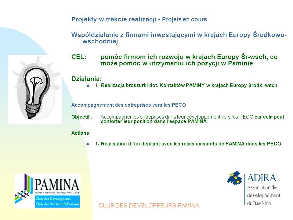 CLUB DES DEVELOPPEURS PAMINA Projekty w trakcie realizacji - Projets en cours Współdziałanie z firmami inwestującymi w krajach Europy Środkowo- wschodniej CEL:pomóc firmom ich rozwoju w krajach Europy Śr-wsch, co może pomóc w utrzymaniu ich pozycji w Paminie Działania: u 1- Realizacja broszurki dot.