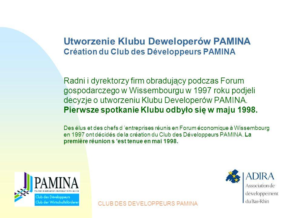 CLUB DES DEVELOPPEURS PAMINA Utworzenie Klubu Deweloperów PAMINA Création du Club des Développeurs PAMINA Radni i dyrektorzy firm obradujący podczas Forum gospodarczego w Wissembourgu w 1997 roku podjeli decyzje o utworzeniu Klubu Developerów PAMINA.