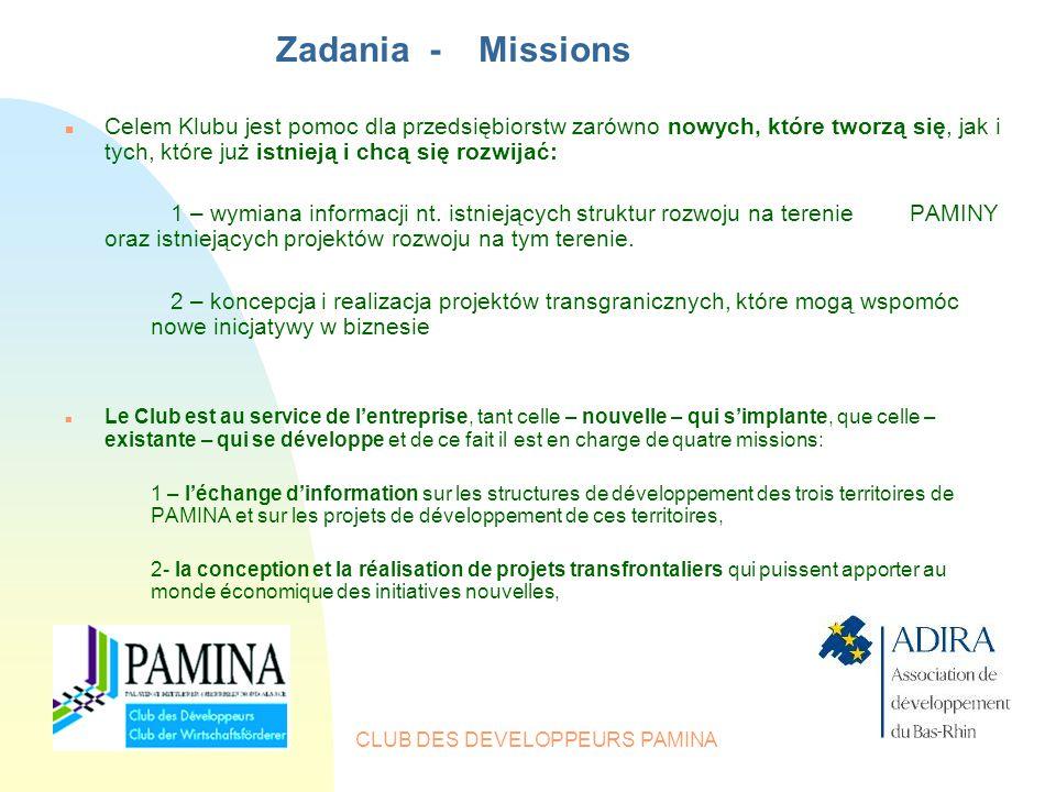 CLUB DES DEVELOPPEURS PAMINA Zadania - Missions n Celem Klubu jest pomoc dla przedsiębiorstw zarówno nowych, które tworzą się, jak i tych, które już istnieją i chcą się rozwijać: 1 – wymiana informacji nt.