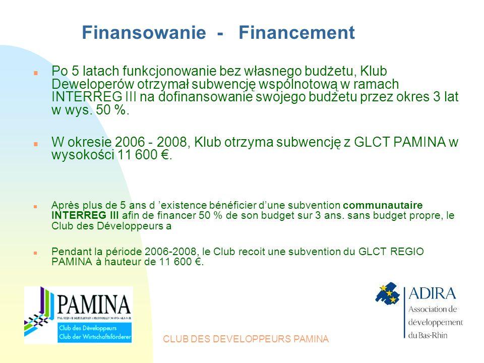 CLUB DES DEVELOPPEURS PAMINA Finansowanie - Financement n Po 5 latach funkcjonowanie bez własnego budżetu, Klub Deweloperów otrzymał subwencję wspólnotową w ramach INTERREG III na dofinansowanie swojego budżetu przez okres 3 lat w wys.