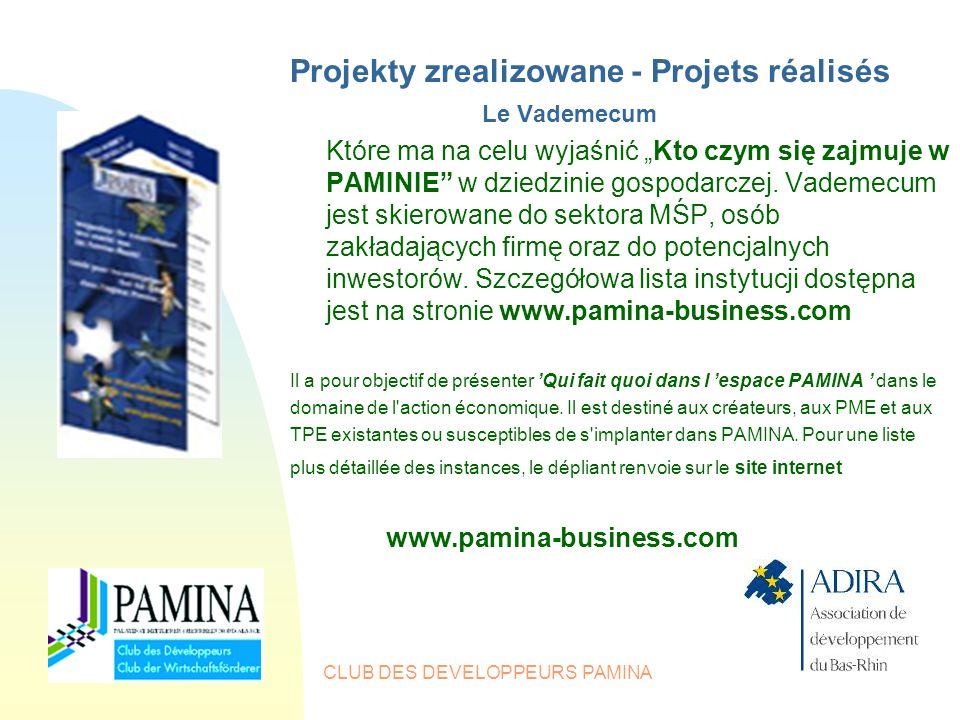 """CLUB DES DEVELOPPEURS PAMINA Projekty zrealizowane - Projets réalisés Le Vademecum Które ma na celu wyjaśnić """"Kto czym się zajmuje w PAMINIE w dziedzinie gospodarczej."""