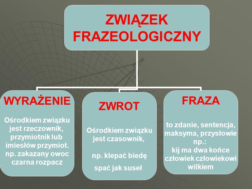ZWIĄZEK FRAZEOLOGICZNY WYRAŻENIE Ośrodkiem związku jest rzeczownik, przymiotnik lub imiesłów przymiot.