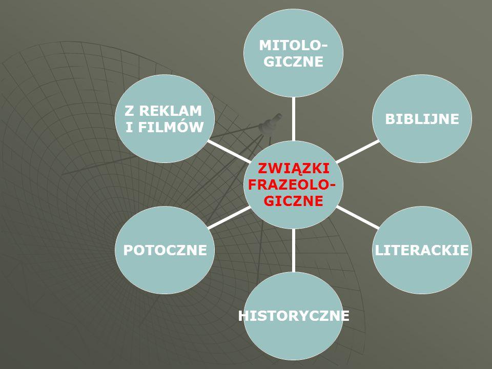 ZWIĄZKI FRAZEOLO- GICZNE MITOLO- GICZNE BIBLIJNELITERACKIEHISTORYCZNEPOTOCZNE Z REKLAM I FILMÓW