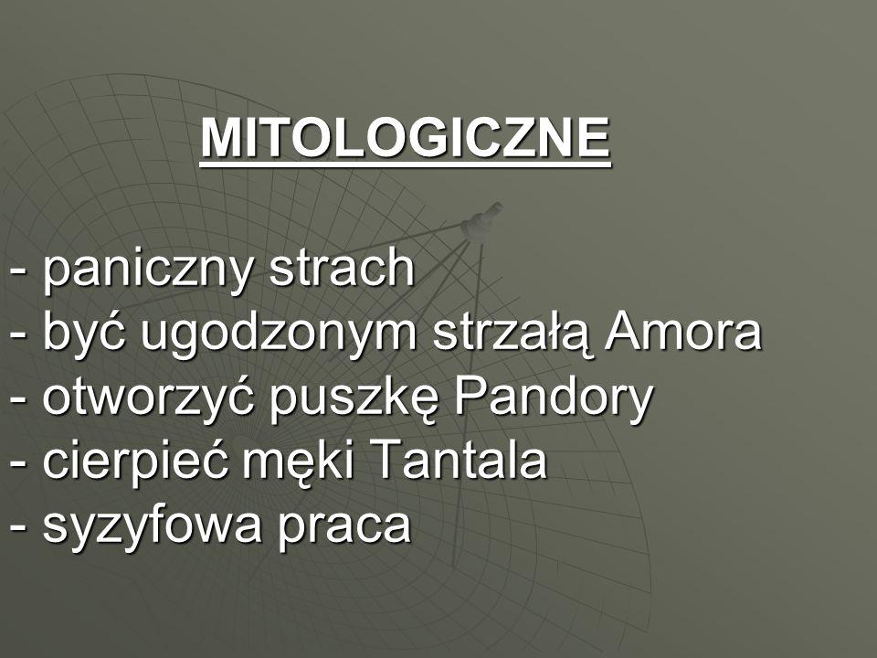 MITOLOGICZNE - paniczny strach - być ugodzonym strzałą Amora - otworzyć puszkę Pandory - cierpieć męki Tantala - syzyfowa praca MITOLOGICZNE - paniczn