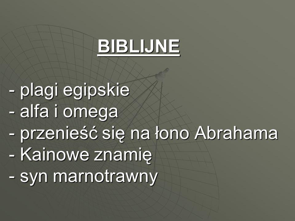 BIBLIJNE - plagi egipskie - alfa i omega - przenieść się na łono Abrahama - Kainowe znamię - syn marnotrawny