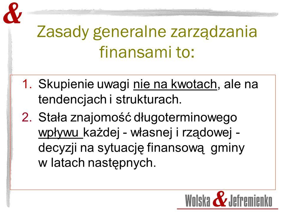 Zasady generalne zarządzania finansami to: 1.Skupienie uwagi nie na kwotach, ale na tendencjach i strukturach.