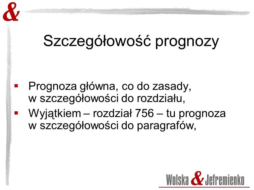 Szczegółowość prognozy  Prognoza główna, co do zasady, w szczegółowości do rozdziału,  Wyjątkiem – rozdział 756 – tu prognoza w szczegółowości do paragrafów,