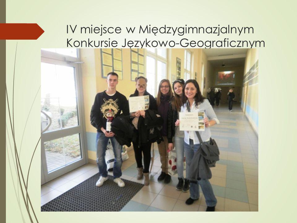IV miejsce w Międzygimnazjalnym Konkursie Językowo-Geograficznym
