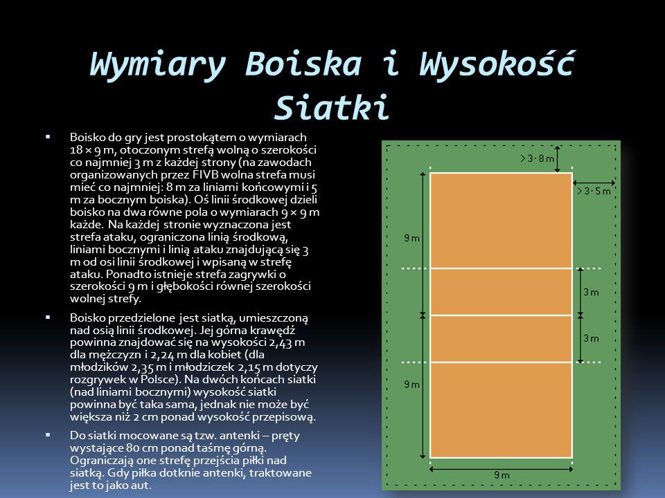 Wymiary Boiska i Wysokość Siatki  Boisko do gry jest prostokątem o wymiarach 18 × 9 m, otoczonym strefą wolną o szerokości co najmniej 3 m z każdej s