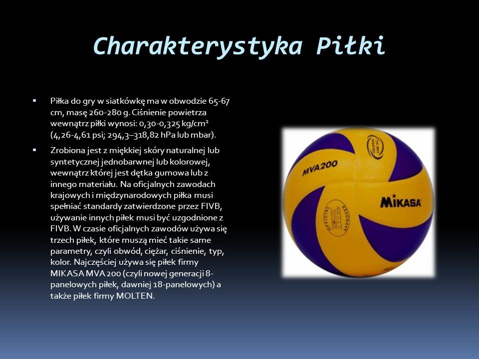 Charakterystyka Piłki  Piłka do gry w siatkówkę ma w obwodzie 65-67 cm, masę 260-280 g. Ciśnienie powietrza wewnątrz piłki wynosi: 0,30-0,325 kg/cm 2
