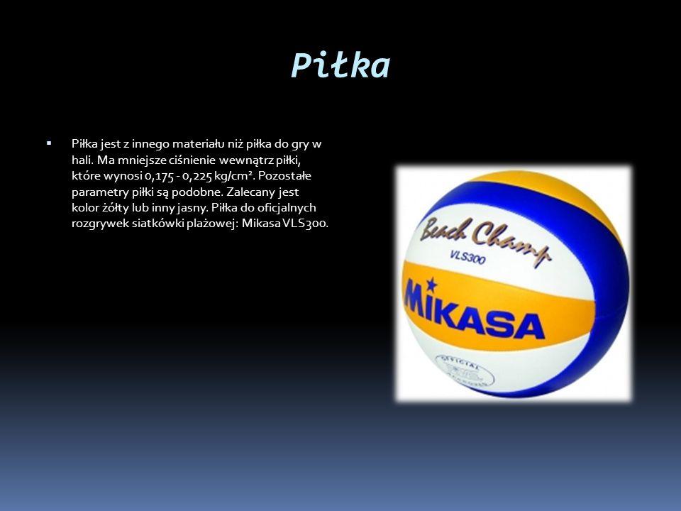 Piłka  Piłka jest z innego materiału niż piłka do gry w hali. Ma mniejsze ciśnienie wewnątrz piłki, które wynosi 0,175 - 0,225 kg/cm 2. Pozostałe par