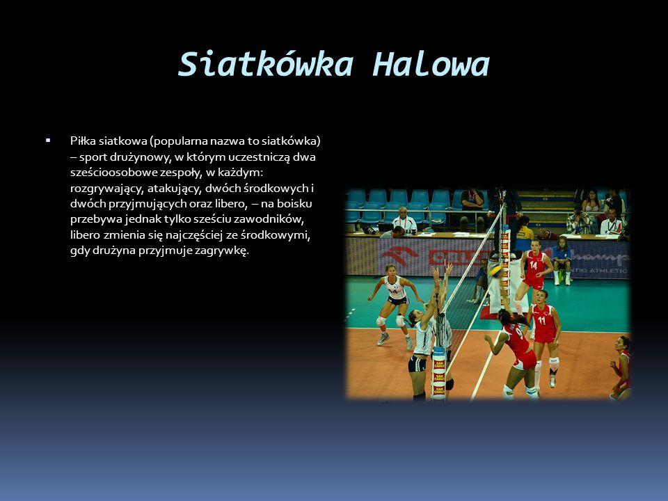 Siatkówka Halowa  Piłka siatkowa (popularna nazwa to siatkówka) – sport drużynowy, w którym uczestniczą dwa sześcioosobowe zespoły, w każdym: rozgryw