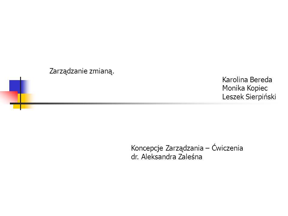 Zarządzanie zmianą. Karolina Bereda Monika Kopiec Leszek Sierpiński Koncepcje Zarządzania – Ćwiczenia dr. Aleksandra Zaleśna