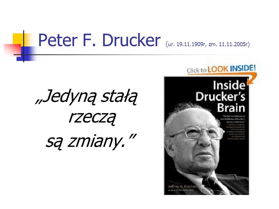"""Peter F. Drucker ( ur. 19.11.1909r, zm. 11.11.2005r) """"Jedyną stałą rzeczą są zmiany."""""""