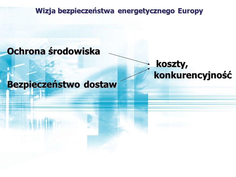 Ochrona środowiska Bezpieczeństwo dostaw koszty, konkurencyjność Wizja bezpieczeństwa energetycznego Europy