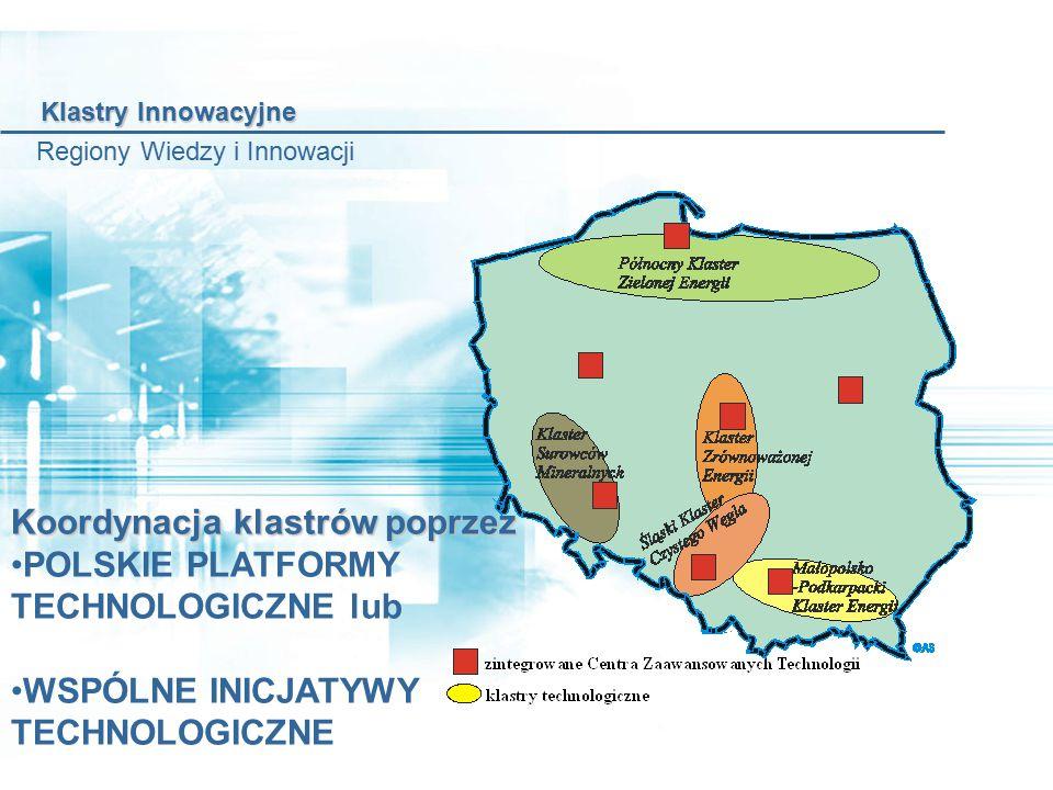 Koordynacja klastrów poprzez POLSKIE PLATFORMY TECHNOLOGICZNE lub WSPÓLNE INICJATYWY TECHNOLOGICZNE Klastry Innowacyjne Klastry Innowacyjne Regiony Wiedzy i Innowacji
