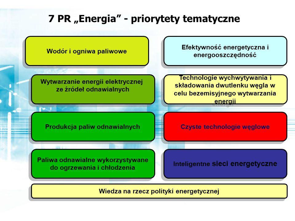 """Wodór i ogniwa paliwowe Wytwarzanie energii elektrycznej ze źródeł odnawialnych Wytwarzanie energii elektrycznej ze źródeł odnawialnych Produkcja paliw odnawialnych Technologie wychwytywania i składowania dwutlenku węgla w celu bezemisyjnego wytwarzania energii Inteligentne sieci energetyczne Efektywność energetyczna i energooszczędność Wiedza na rzecz polityki energetycznej Czyste technologie węglowe Paliwa odnawialne wykorzystywane do ogrzewania i chłodzenia 7 PR """"Energia - priorytety tematyczne"""