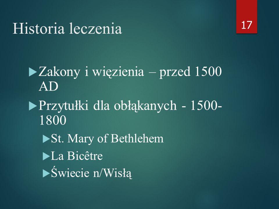 Historia leczenia  Zakony i więzienia – przed 1500 AD  Przytułki dla obłąkanych - 1500- 1800  St.