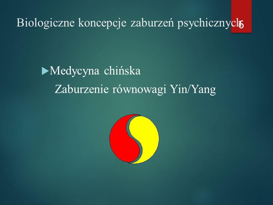 Biologiczne koncepcje zaburzeń psychicznych  Medycyna chińska Zaburzenie równowagi Yin/Yang 6